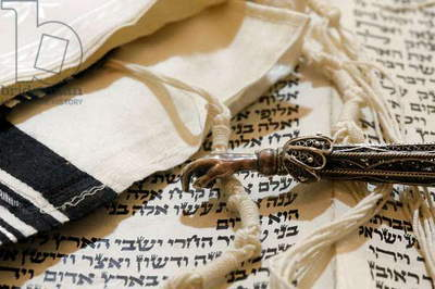 Torah scroll, Yad, Torah pointer, and Tallit, Jewish prayer shawl (photo)