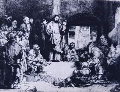 Etching titled 'Christ Preaching' by Rembrandt Harmenszoon van Rijn