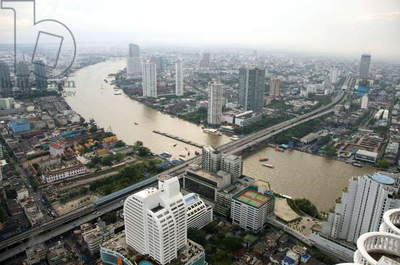Thailand, Bangkok, cityscape with Chao Phraya River, aerial view