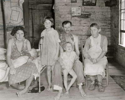 Sharecropper Bud Fields and his family at home. Hale County, Alabama, 1935 (b/w photo)