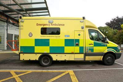 Great Britain, England, emergency ambulance parked outside hospital A&E department