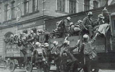 Truckloads of German Freicorps during the 1919-1920 German revolution.