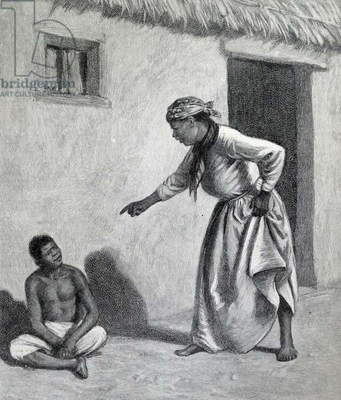 Illustration from a book depicting a young black boy sitting outside of a black woman's home
