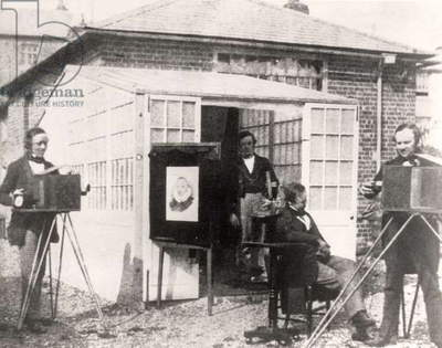Fox Talbot (right) at the Reading photographic establishment, c.1845 (calotype)