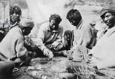 Sherpas Playing Backgammon, Nepal, 1930 (b/w photo)