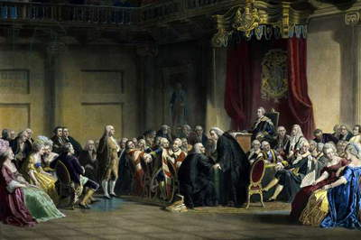 Benjamin Franklin standing before the Lords in Council in Whitehall Chapel, London in 1774,