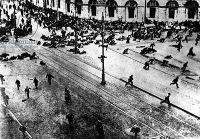 Bolshevik protest scattered by machine guns during the Russian Revolution