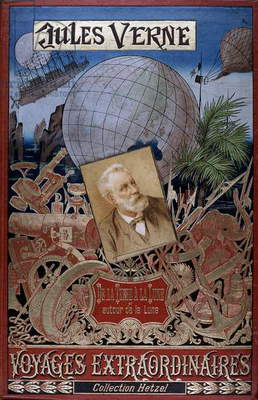 Jules Verne (1828-1905) French novelist: Cover of De la Terre a la Lune and Autour de la Lune from his series Voyages Extraordinaires with picture of the author in the centre. Paris, Hetzel et Cie (1896?).
