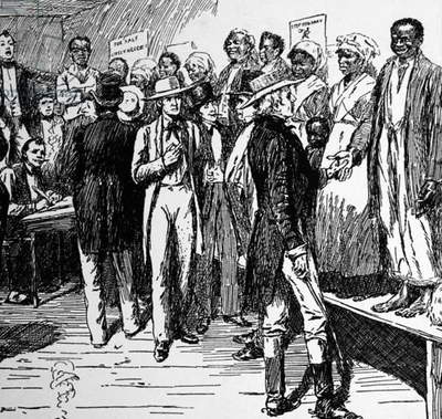 Slave auction in New Orleans, 1861