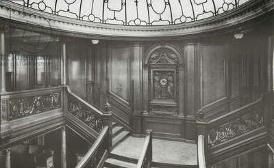 First Class Staircase on RMS Olympic, 04 January 1912 (b/w photo)