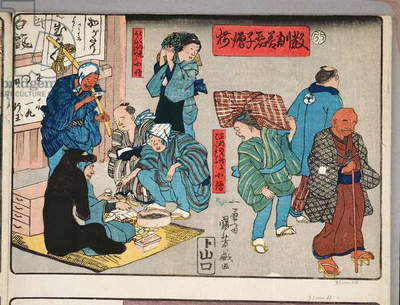 Moral teaching for shopboys, giving good and bad examples of behaviour, 1857 (colour woodblock print)