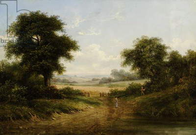 Landscape with Cornfield and Two Figures