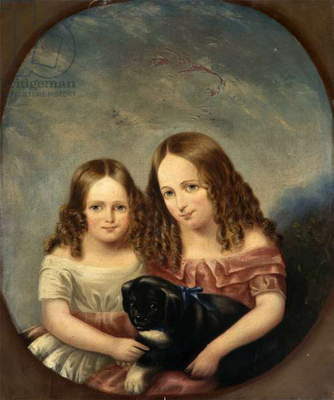 Two Little Girls with a Puppy