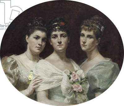 Ada Christina Lucy, Lady Fairfax-Lucy (1866–1943) with her sisters Joyce Alianore Lucy (1871 - 1948) and Constance Linda Lucy,  later Mrs Secker (b.1867)