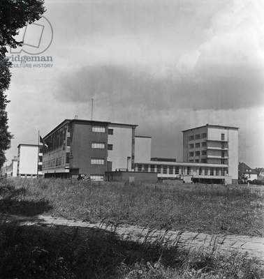 The Bauhaus building at Dessau, Germany 1930s (b/w photo)