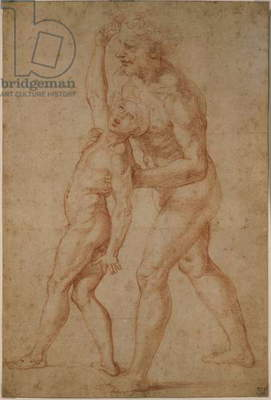 Father with son possessed by demons, Preliminary study by Raphael (Raffaello Sanzio), drawing, red chalk over stylus tracing