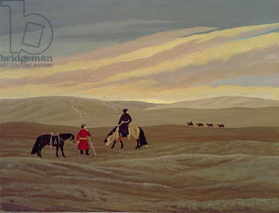 Herding Camel Train, Inner Mongolia (oil on canvas)