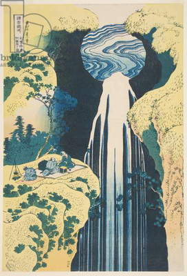 The Amida Waterfall in the Province of Kiso (woodblock print)