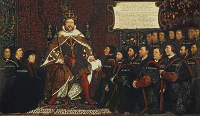 Henry VIII handing over a charter to Thomas Vicary, commemorating the joining of the Barbers and Surgeons Guilds, 1541 (oil on panel)