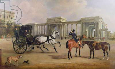 Mr. Massey Stanley with cabriolet and hacks at Hyde Park Corner, 1833
