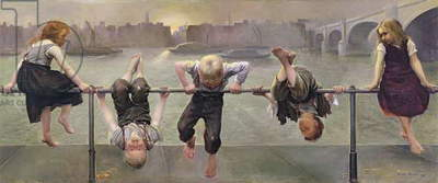 Street Arabs at Play, 1890 (oil on canvas)