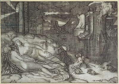 The Dream of Raphael, c.1507-08 (line engraving)