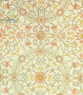 Wallpaper with a floral design of lilies enclosed by roses designed by William Morris (1834-96)
