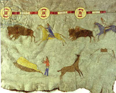 Detail of a hide painting depicting a buffalo hunt