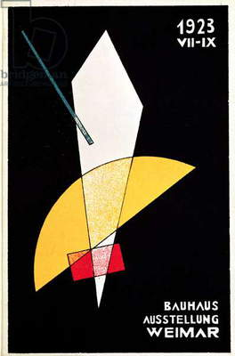 Poster for a Bauhaus exhibition in Weimar, Germany, 1923 (colour litho)