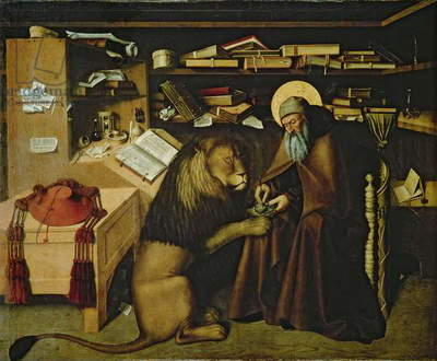 St. Jerome Removing a Thorn from the Lion's Paw, c.1445 (oil on panel) (see 178986 for detail)