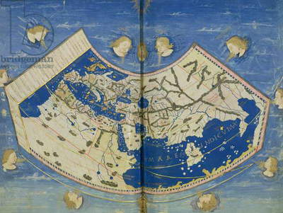 Ms Lat 463 Fol.75v-76r Map of the World with the Twelve Winds (vellum)