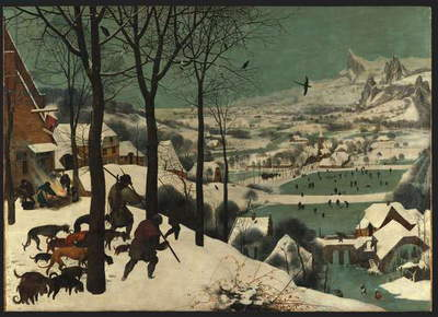 Hunters in the Snow (Winter), 1565 (oil on wood)