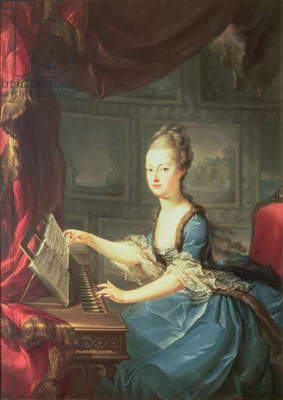 Archduchess Marie Antoinette Habsburg-Lothringen (1755-93) at the spinnet, fifteenth child of Empress Maria Theresa of Austria (1717-80) and Emperor Francis I (1708-65) wife of Louis XVI of France (1754-93)