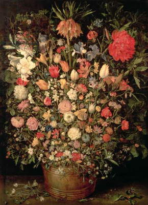 Large bouquet of flowers in a wooden tub, 1606-07, (oil on canvas)