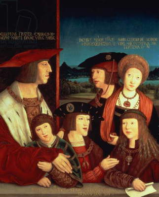 Maximilian I (1459-1519) with his first wife Mary of Burgundy (1457-82) between them their son Philip I Spain and King of Castile (the Fair) (1478-1506), his sons Charles V (1500-58), Ferdinand I (1503-64), with Ludwig II of Hungary (Maximilian's grandson-in-law) on the right