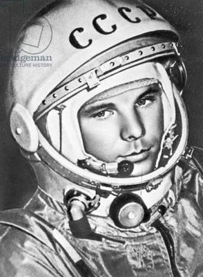 The cosmonaut Yuri Gagarin (b/w photo)