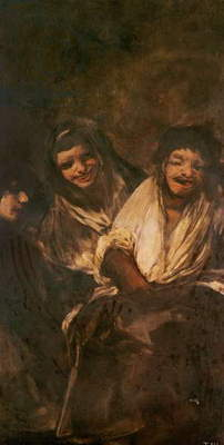 A Man and Two Women Laughing (oil on canvas)