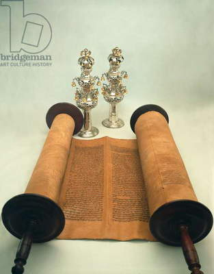 Torah scroll with Silver Crown finials (paper, wood & silver)