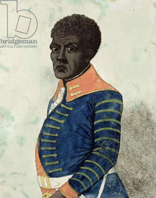 Portrait of Toussaint Louverture, 1802 (colour engraving)