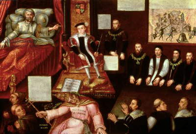 King Edward VI (1537-53) and the Pope, c.1570 (oil on panel)