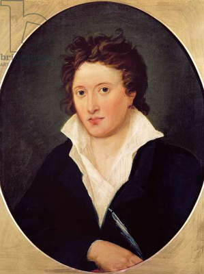 Portrait of Percy Bysshe Shelley, 1819 (oil on canvas)