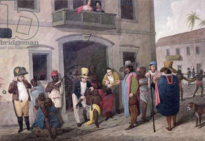Slaves in Brazil (hand-coloured engraving)