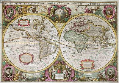 A New Land and Water Map of the Entire Earth, 1630 (coloured engraving)