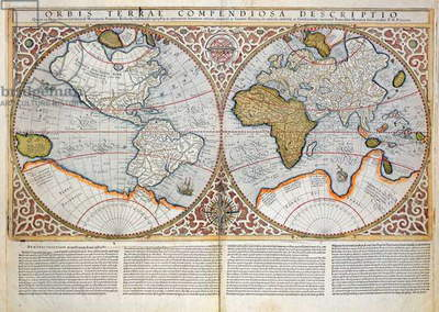Double Hemisphere World Map, 1587 (coloured engraving)