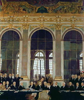 The Signing of Peace in the Hall of Mirrors, Versailles, 28th June 1919, 1919 (oil on canvas)
