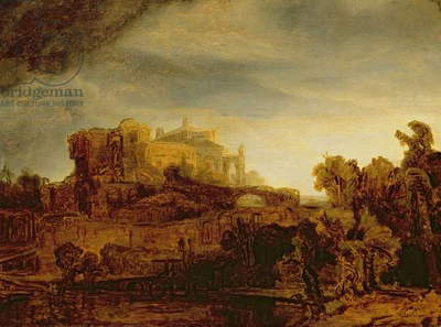 Landscape with a Chateau (oil on panel)