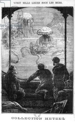 The Nautilus Passengers, illustration from '20,000 Leagues Under the Sea' by Jules Verne (1828-1905) engraved by Henri Theophile Hildibrand (1824-97) Paris, Hetzel (engraving) (b/w photo)