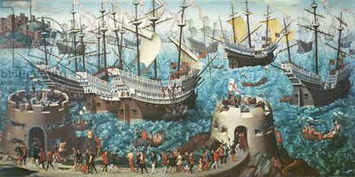 Embarkation of Henry VIII (1491-1547) on Board the Henry Grace a Dieu in 1520, copied from a painting by Vincent Volpi (oil on canvas)