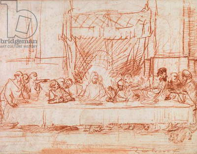 The Last Supper, after the fresco by Leonardo da Vinci (1452-1519) c.1635 (red chalk on paper) (b/w photo)