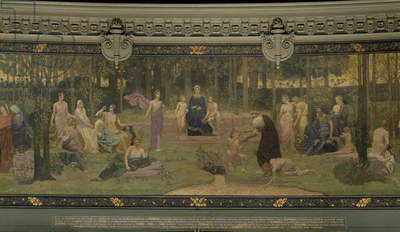The Sacred Wood, allegorical mural in the Grand Amphitheatre, central detail of the Sorbonne, Eloquence, Poetry, the Life-Giving Source and Science, 1887-89 (fresco) (detail of 88480)